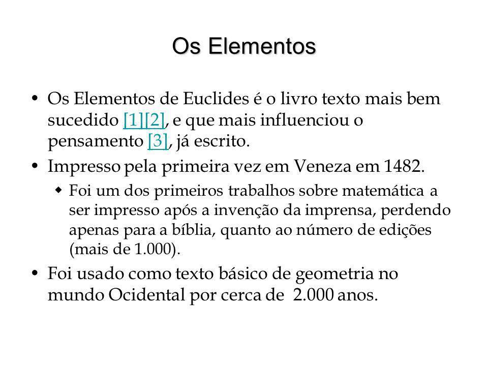 Os Elementos Os Elementos de Euclides é o livro texto mais bem sucedido [1][2], e que mais influenciou o pensamento [3], já escrito.
